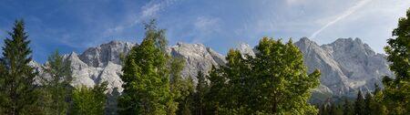 massif: panorama zugspitze massif, highest german mountains.