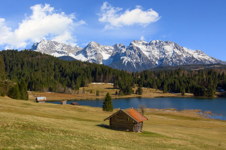 pictorial: pictorial spring landscape lake gerold and snow covered karwendel mountains Stock Photo