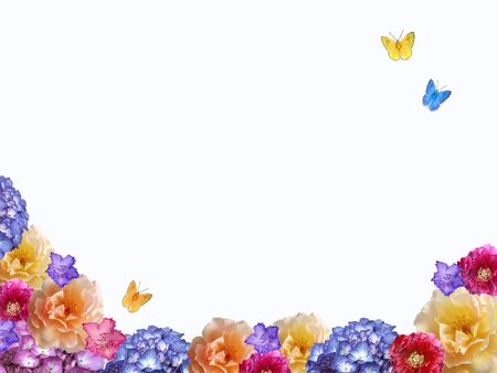 paeony: white background with flower frame and butterflies Stock Photo