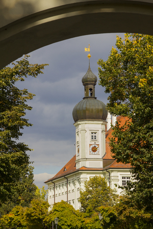 view through door: famous townhall in altotting, bavaria, view through arched door
