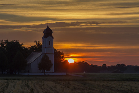 pilgrimage: pilgrimage chapel in sunset scenery, bavaria