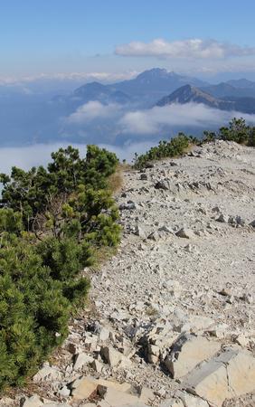 rocky peak: rocky peak plateau of herzogstand mountain, bavarian alps