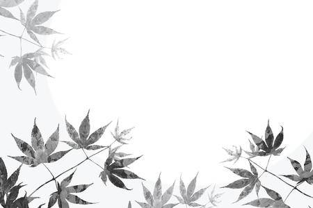 branch with maple leaves and floral background, sympathy design