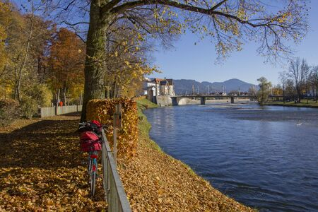 riverside landscape: beautiful isar riverside in bad tolz, scenic autumn landscape Stock Photo