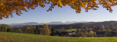 foothills: panoramic view to the bavarian foothills in autumnal landscape