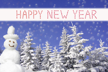 wintry forest and smiling snowman, happy new year design