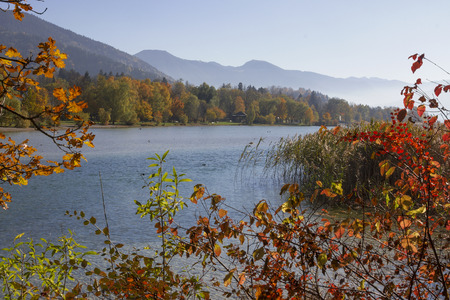 scenic autumnal landscape lake tegernsee, bavaria Stock Photo