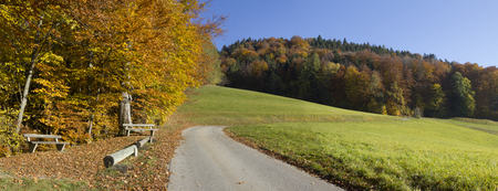bikeway: idyllic place for rest at autumnal hillside in the alps Stock Photo