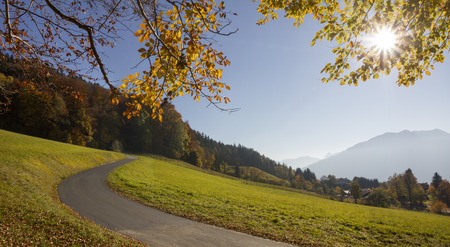 hillside: winding way at the hillside in beautiful bavarian autumn landscape