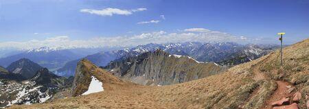 austrian: panoramic view from mountain trail rofan mountains, austrian landscape