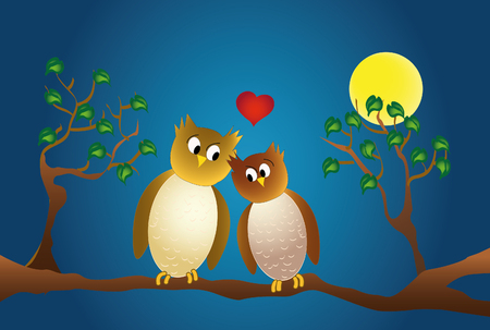 amorous: two amorous owl sitting on a branch, moonlight and love heart.