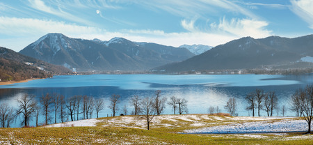 pictorial: pictorial bavarian landscape lake tegernsee in early springtime