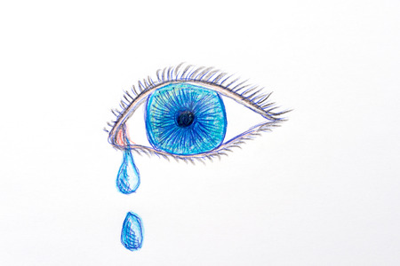 drawing of a blue eye with tear drops, isolated on white background Stock fotó