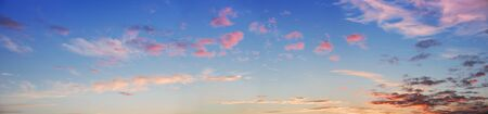 large size: panoramic sunset sky with pink clouds, large size