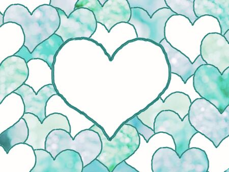 text space: background with stacked drawn love hearts, in shades of blue with light circles. space for your text.