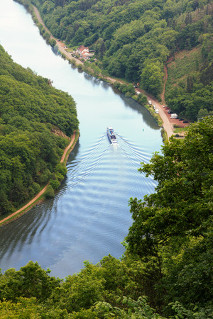 saar: passenger liner on river bend saar river, view from above Stock Photo