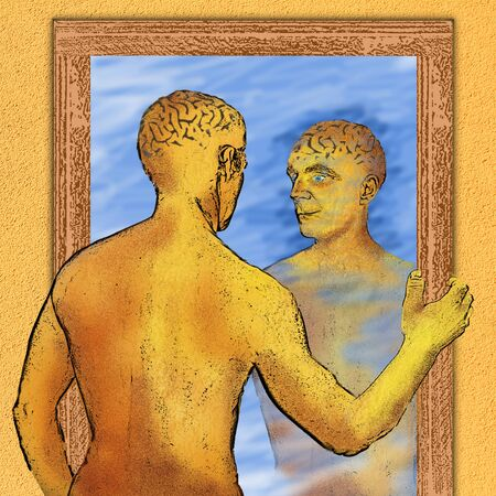 alter ego: Painting of a person reflecting in a mirror, thinking about himself Stock Photo