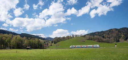 upland: bavarian upland railway in idyllic landscape near schliersee