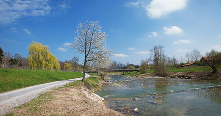 riverside landscape: hiking route along the riverside of mangfall river, bavarian springtime landscape