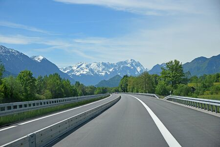 tree works: free highway to the bavarian alps, zugspitze mountain. Separated traffic lane because of road works