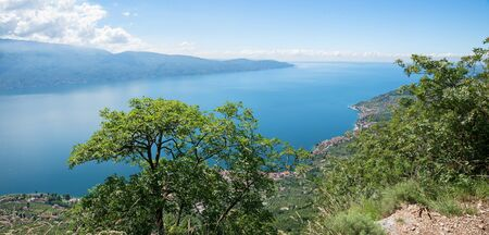 italian landscape: beautiful view to garda lake and gargnano village, italian landscape Stock Photo