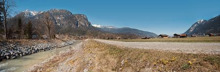 bikeway: panoramic view river loisach valley near garmisch with riverside bikeway Stock Photo