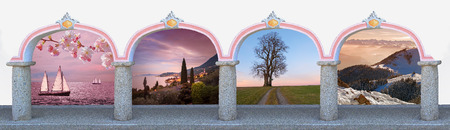 Arcade with archway and romantic landscapes - four seasons design