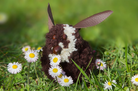 selfmade: cute rabbit, made of pompons, sitting in the lawn with daisies. self-made handicraft. Soft gradient Background,