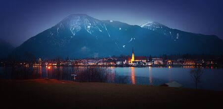 nightly: nightly scenery in advent season, illuminated spa town rottach-egern and lake tegernsee, upper bavaria