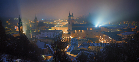 nightly: panoramic view from fortress hohensalzburg to old town salzburg with nightly illumination Stock Photo