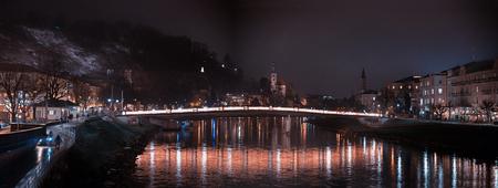 nightly: bridge over salzach river, nightly scenery at salzburg old town, austria