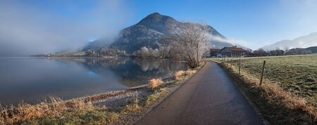 hiking route around lake schliersee, morning mood in the bavarian alps, early december