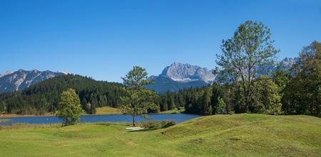 swimming lake geroldsee in the karwendel mountains, upper bavaria