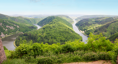 saar river bend from lookout poin cloef, famous saarland landscape, germany