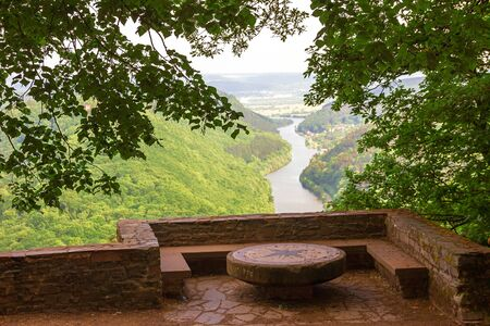 resting place lookout point cloef, view to saar river, saarland landscape