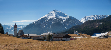 panoramic view to alpine destination achenkirch, ski resort christlum in the austrian alps Stock Photo