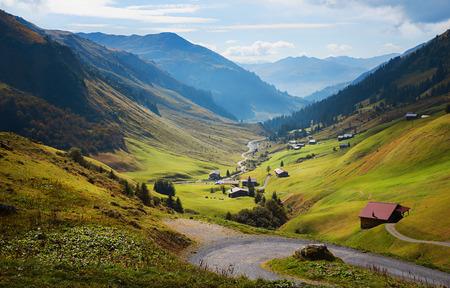pictorial partnun valley in autumnal colors, prattigau switzerland