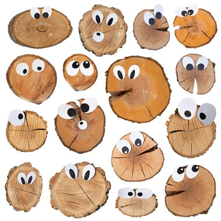 wooden slices with funny faces with various grimaces