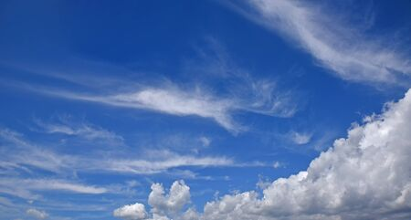 beautiful blue sky with cumulus, cirrus clouds and copy space