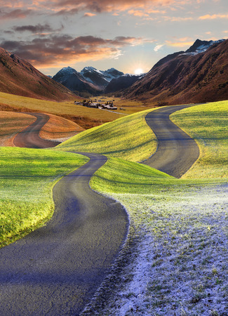 intertwined roads, four seasons fantasy landscape. Merge into autumnal mountain landscape.