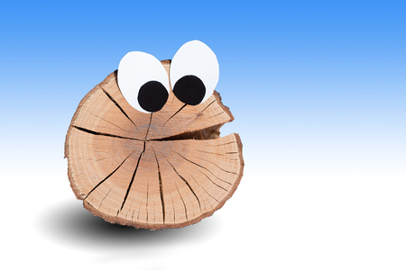 humor: funny wooden face with big eyes isolated on gradient background white and blue Stock Photo