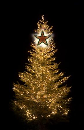 Beleuchteter Weihnachtsbaum nachts mit goldenen glänzenden Lichtern und Stern Standard-Bild - 87710886