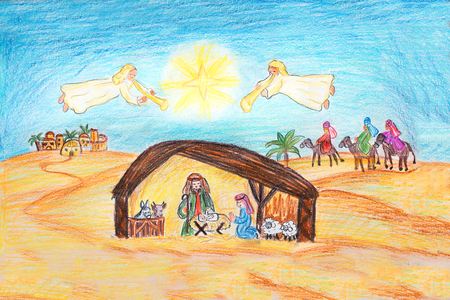 nativity scene with holy family and angels playing the trumpet. in the background the three kings and bethlehem town. hand drawn with crayons.