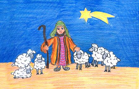 Weihnachtsszene - Sheperd mit Schafen und goldener Stern am Himmel, handgezeichnete Abbildung Standard-Bild - 87657186