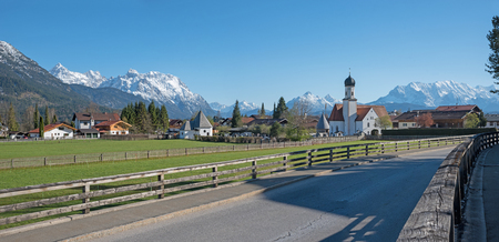 road to wallgau valley, popular tourist destination in the bavarian alps Stock Photo