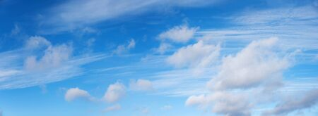 blue sky panorama with cirrus and stormy clouds