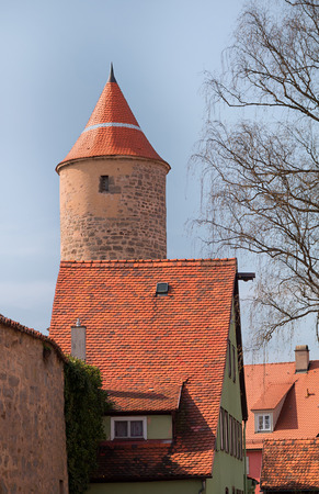 town wall and old tower of historic city dinkelsbuhl, middle franconia