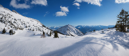 beautiful winter landscape in skiing and hiking area rofan mountains, austria