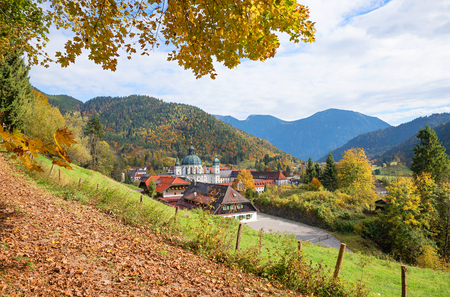 beautiful autumn landscape with view to ettal abbey, upper bavaria