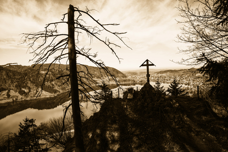 mystic scenery at historic ruin hohenwaldeck, schliersee with scary tree, sepia toned